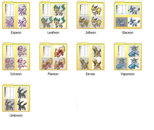 All Eeveelutions PDF 9 Cross stitch patterns by JuliefooStitches