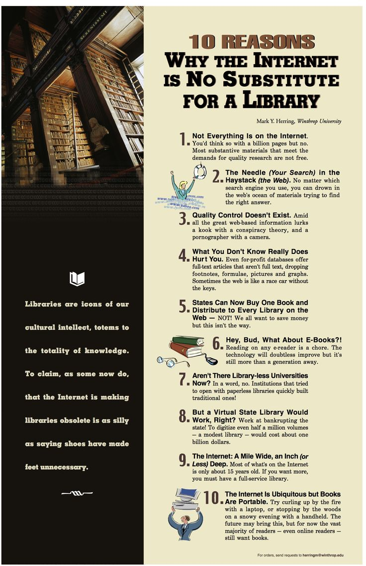 ten reasons why the internet is no substitute for a library - Google Search