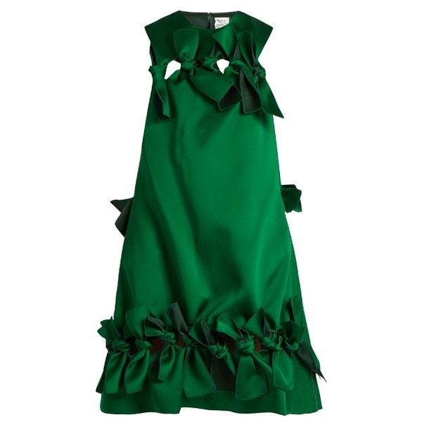 Maison Rabih Kayrouz Multi-ties sleeveless dress ($1,965) ❤ liked on Polyvore featuring dresses, dark green, green holiday dress, evening dresses, sleeveless cocktail dress, special occasion dresses and satin evening dresses