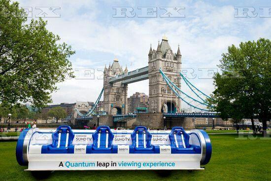Samsung Slider bench arrives ahead of HSBC London Sevens - 11 May 2016  Samsung Slider near to Tower Bridge 11 May 2016
