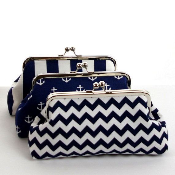 Navy White Nautical Anchor Clutch/Navy Blue by ModDotTextiles, $35.00