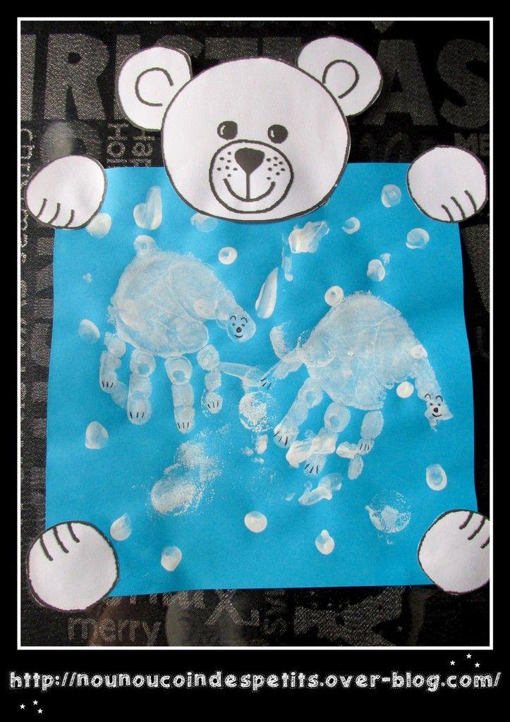 - C'est l'hiver ! Aujourd'hui création d'un petit tableau ours polaire , empreinte de doigt et main en peinture blanche . idée trouvé sur pinterest - Vous pouvez télécharger le gabarit de l'ours en cliquant sur le lien ici : https://mon-partage.fr/f/dRjOmB8w/ A...