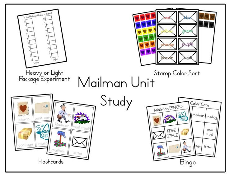 Mail Unit (Post Office)      Flashcards       Stamp color sort      Heavy or Light Science Experiment ( you weight different packages and letter that you create and help your child decide if they are heavy or light then chart it)      Bingo using the Flash Card words