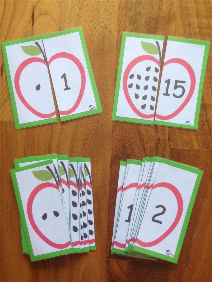 Mele puzzle  per imparare i numeri e le quantutà - Counting Game Apple - Zählspiel Apfel