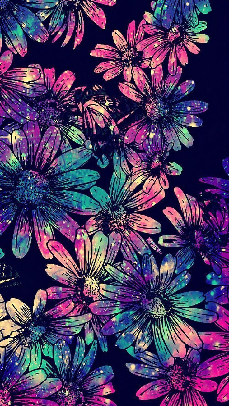 Floral Galaxy Wallpaper Art Wallpaper Glitter Wallpaper