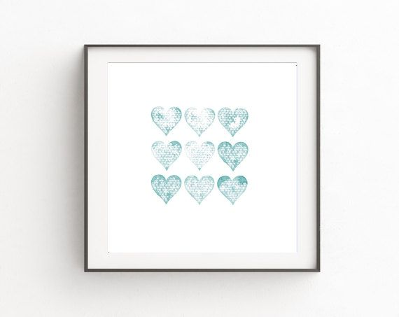 Blue Hearts Print, Digital Heart Art, Gift for Her, Gift for Him, Valentine's Day Gift, Hearts Decor, DIY Wall Art, Blue Art Print, Blue