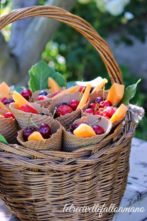 basket of waffle cones filled with fruit