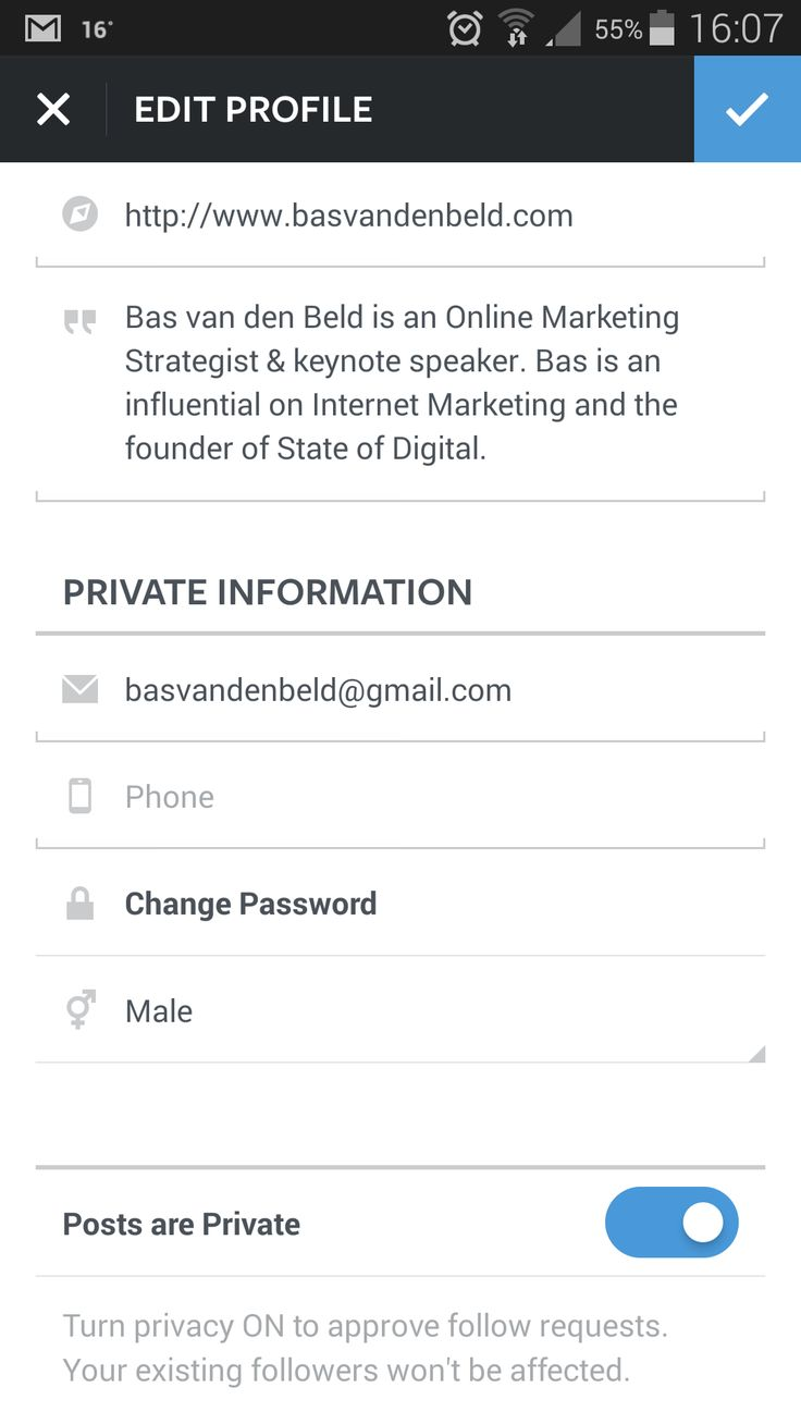 instagram account settings ui mobile - Google Search