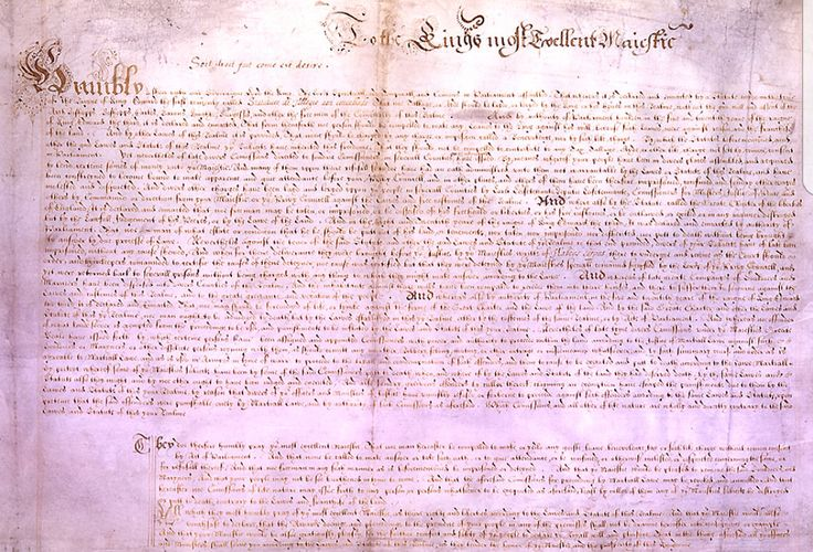 On June 7th 1628 The Petition of Right is formerly agreed by the King. It is designed to prevent the King from levying taxes without consent. It also restricts forced billeting. Wentworth advocates a more moderate version & loses influence in Parliament over it. The Bill is reluctantly agreed by the King.