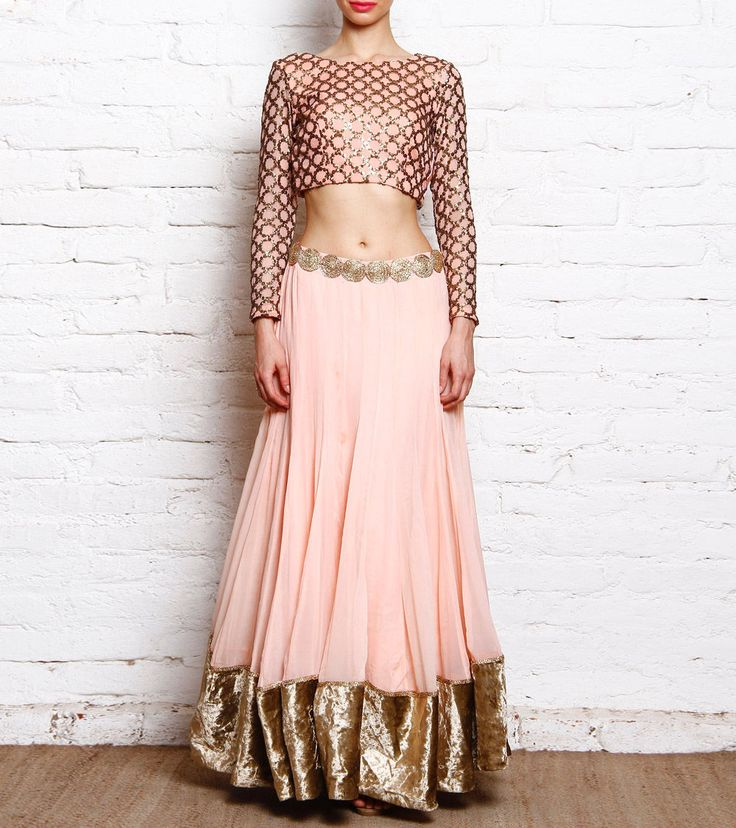 Beautiful soft color combo! Peach Georgette Lehenga With Sequin Ring Embroidery Yoke