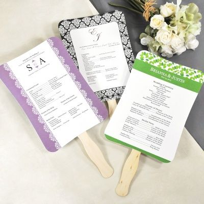 DIY Ceremony Program Fan Kit $49.95 per kit Cool your guests off with this DIY Ceremony Program and Fan Kit. Your guests will thank you for the thoughtfulness. Choose from a variety of design templates, print the programs, attach to the fan handles all by yourself.
