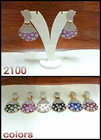 AD AND COLOUR STONE EAR HANGINGS #Earringsnecklaces #Stoles