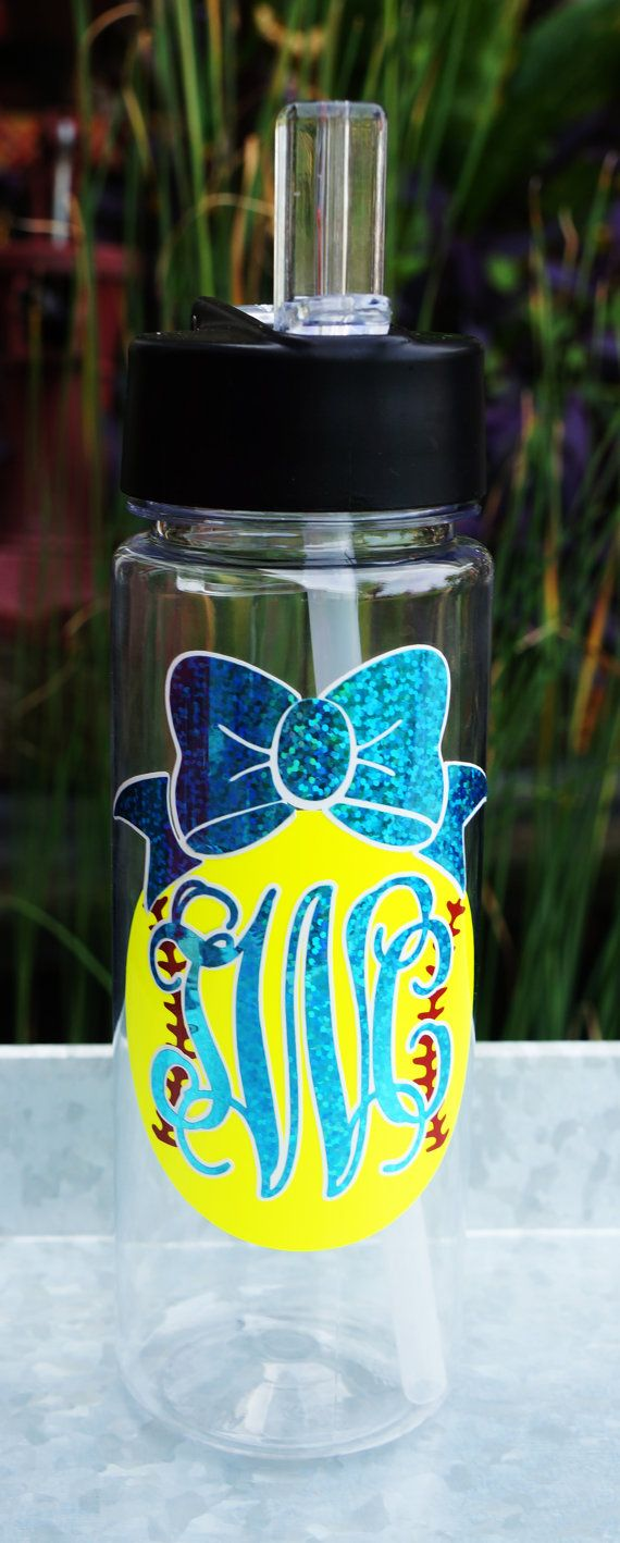 Monogrammed Softball / Baseball water bottle by CockyLadies