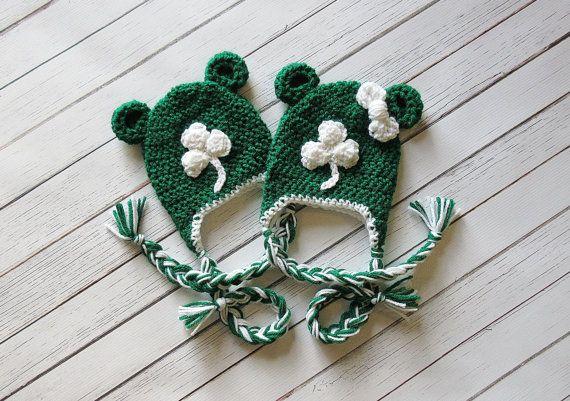 Green Shamrock Bear Hat St. Patrick's Day Hat by CraftsEverywhere