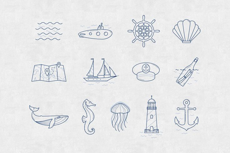 In the sea - vector linear icon set by InnaMoreva on Creative Market