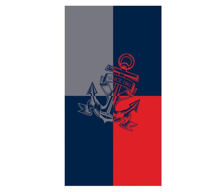 Πετσέτα θαλάσσης ανδρική Blue Anchor  Από 100% βαμβάκι σε διάσταση 83x160