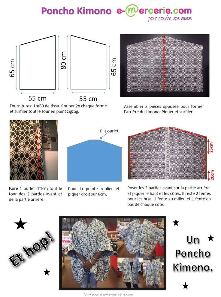Poncho Kimono Tuto gratuit  #tuto #couture #diy #emercerie
