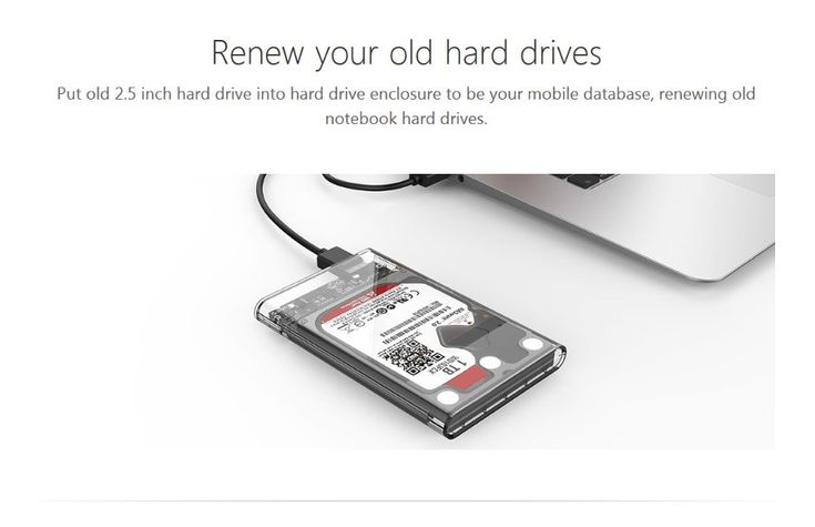 Original ORICO 2139U3-CR 2.5 inch Transparent USB3.0 Hard Drive Enclosure