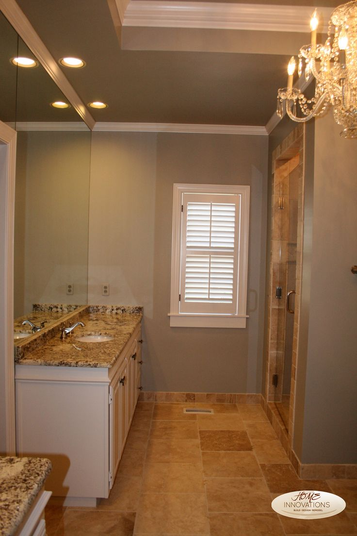 Sherwin williams dorian grey beige tumbled travertine for Grey and beige bathroom ideas