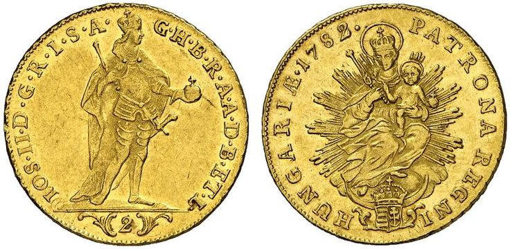 AV Double Ducat. Hungary Coins, Habsburg Rulers. Joseph II. 1780-1790. Kremnitz mint, 1782. 6,96g. F 195. R! Good EF. Price realized 2011: 900 USD.