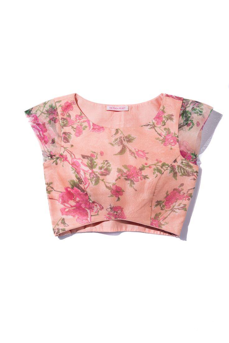 Floral Organza Blouse! #littleblacksari #thepeachproject #pink #peach #croptop…