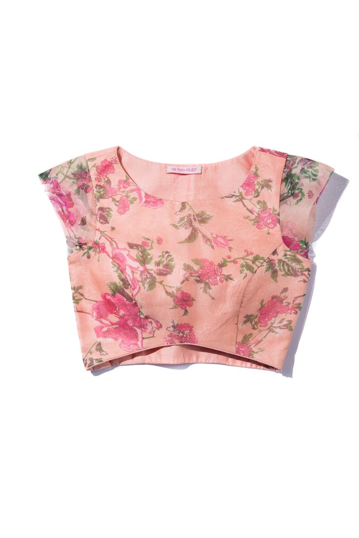 Floral Organza Blouse! #littleblacksari #thepeachproject #pink #peach #croptop #sariblouse #beachday #beachwedding #bridesmaid #desibridesmaid #poolparty #strawberry #indianwedding #americandesi