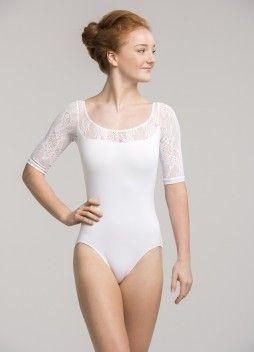 128KL Celeste with Kara Lace White Front Leotard Dancewear