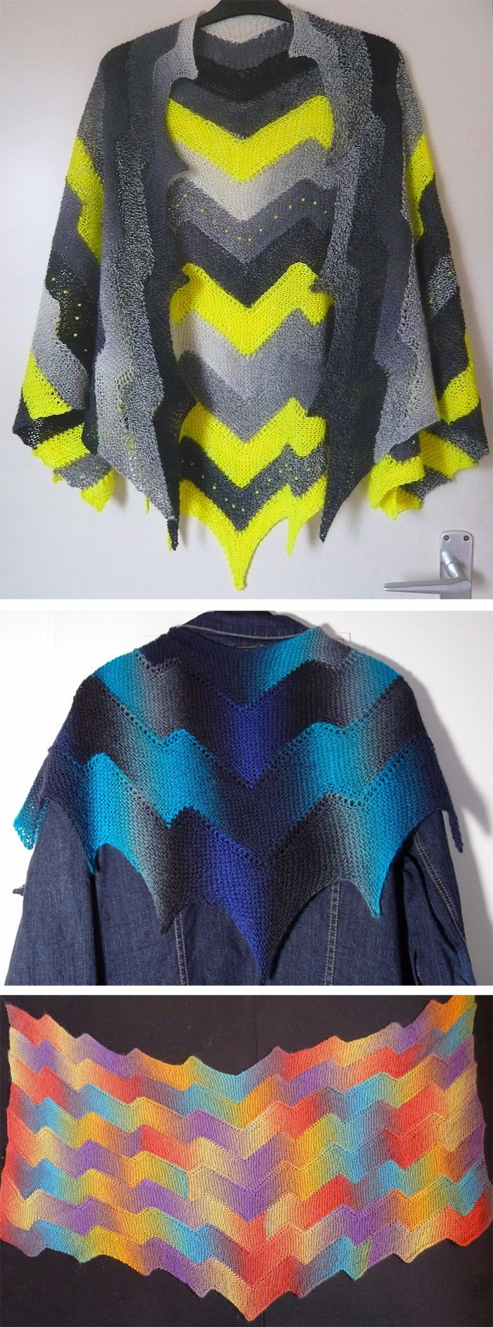 Free Knitting Pattern for Lightning Shawl - The Lightning Shawl uses Frankie Brown's Ten Stitch Zigzag pattern. Garter stitch strips are shaped into elongated zigzags with regular increases and decreases and then joined on to other strips as you go to make the finished fabric. There is no sewing up and the shawl could be knitted in any yarn. Pictured projects byannalist,maryaustria, andmiriamsdottir