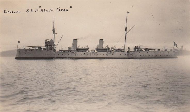 "The BAP ""Almirante Grau"" 1 according to this old postcard photo"