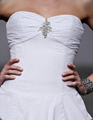 Michelle Roth seersucker wedding gown for Kleinfelds #dress #strapless #blue