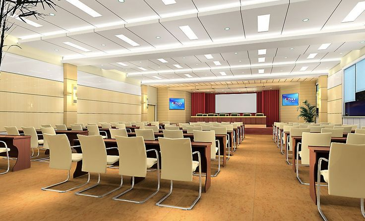 Pale yellow conference room design training teaching for Training room design ideas