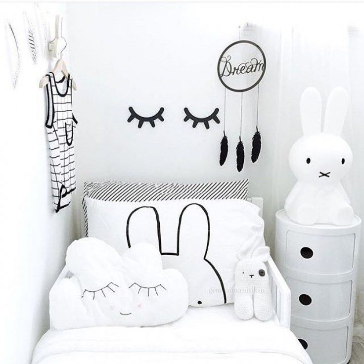 black white and lots of bunnies what a cute monochrome kids room kids wall decorkid