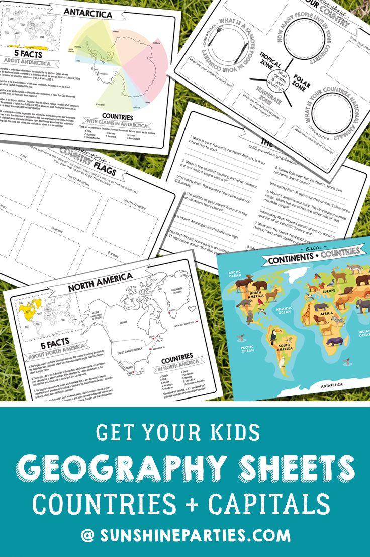 Printable Kids Geography Worksheets Sunshine Parties Geography Worksheets Continents And Countries World Geography [ 1107 x 736 Pixel ]