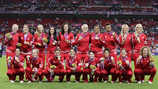 Canada's women's soccer team poses with their bronze medals at the London 2012 Olympic Games. Congrats Ladies!