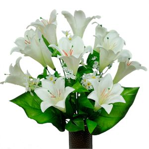 White Easter Lilies          (Silk Cemetery Flowers)
