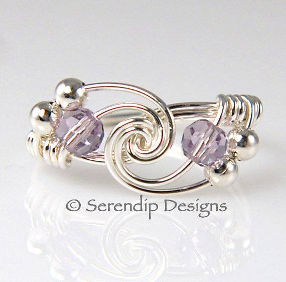 Sterling Silver Twist Ring with Alexandrite Crystals June Birthstone on Etsy, $25.65 CAD