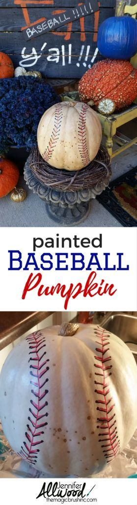 Baseball Pumpkin - Fall Decorating Ideas for sports fans | The Magic Brush
