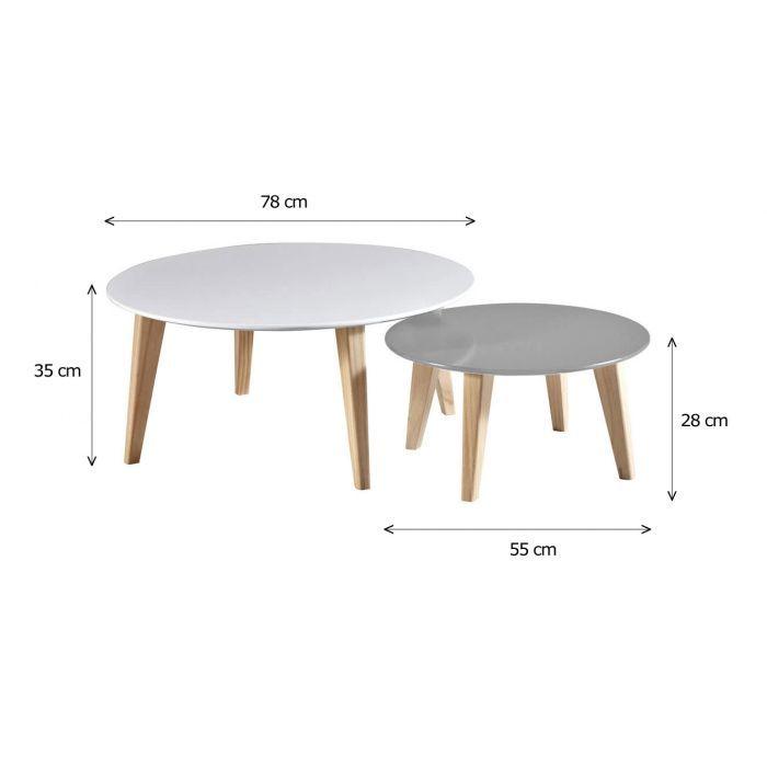 Tables Basses Rondes Scandinaves En Bois Lot De 2 Round Table De Salon Mobilier De Salon Design De Table