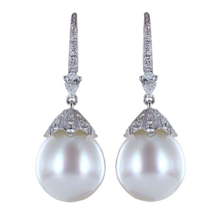 South Sea Pearl & Diamond Drop Earrings | From a unique collection of vintage drop earrings at http://www.1stdibs.com/jewelry/earrings/drop-earrings/