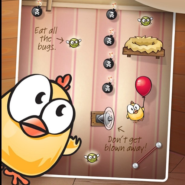 Drop the Chicken - Your mission is to help Chuck get to each nest while eating all the bugs along the way. Drag the acrobatic tools into place and then click the switch and watch Chuck bounce, slide and float around the levels. #appstore