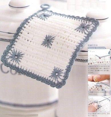 Aujourd'hui , je vous propose des patrons et des modèles gratuits des accessoires pour la cuisine au crochet , et plus particulièrement des modèles de maniques au crochet . Si cette manique au crochet vous plaît voici le schéma Cliquez sur la photo pour...