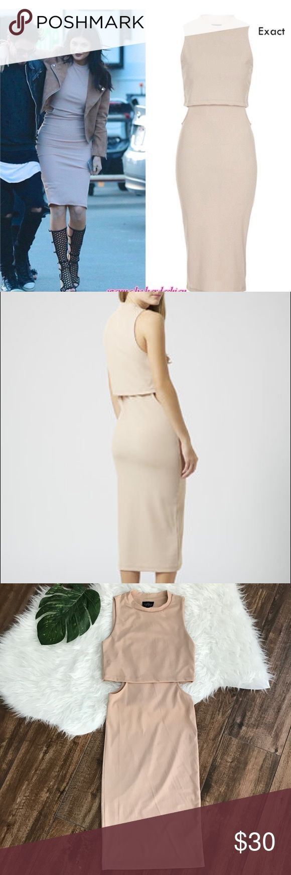 Topshop • Cutout Nude Ribbed Sleeveless Midi Dress Topshop Petite size 2P nude sleeveless Cutout midi dress. High Neckline. Looks like a crop top with skirt. As seen on Kylie Jenner. There is a small mark on the back of the dress as pictured.   No Trades!! 1115vt Topshop Dresses Midi