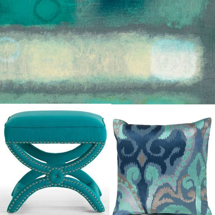 Cerulean, turquoise & indigo scheme feat Surya abstract artwork by Haynes Worth and overscale damask Ara pillow. Xbench by Safavieh #inspiration #hpmkt #cerulean #blues #caribbean #interiors #art #accessories