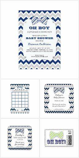 Bow ties in navy and gray designed baby shower collection. With baby shower invitations, save the date stickers, baby bingo cards and more. I love this gray and navy blue chevron design.