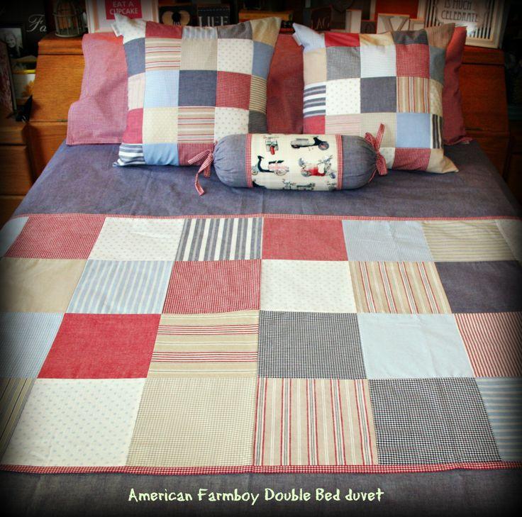 "Patchwork Double-bed duvet set - ""American Farmboy"" range. Manufactured by Tula-tu Baby Linen. www.tulatu.co.za"