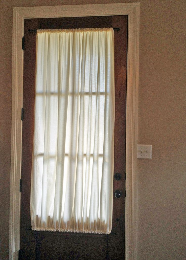 Stunning Sheet Curtains Designs for Classic Room: Beautiful Sheet Curtains Front Door Woodframe Glass Door : door shades - Pezcame.Com