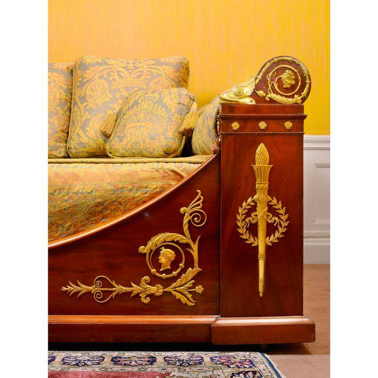 Кровать лодка из красного дерева и позолоченной бронзы эпохи ампира, после рисования Percier и Фонтан   lot   Sotheby's