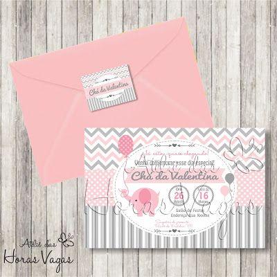 convite aniversário infantil personalizado artesanal chá de bebê fraldas menina elefantinho elefante cinza rosa festa envelope tag adesivo