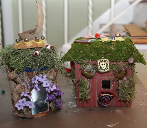 Fairy houses out of recycled boxes, cartons, left over craft stuff, old jewelry and materials from nature