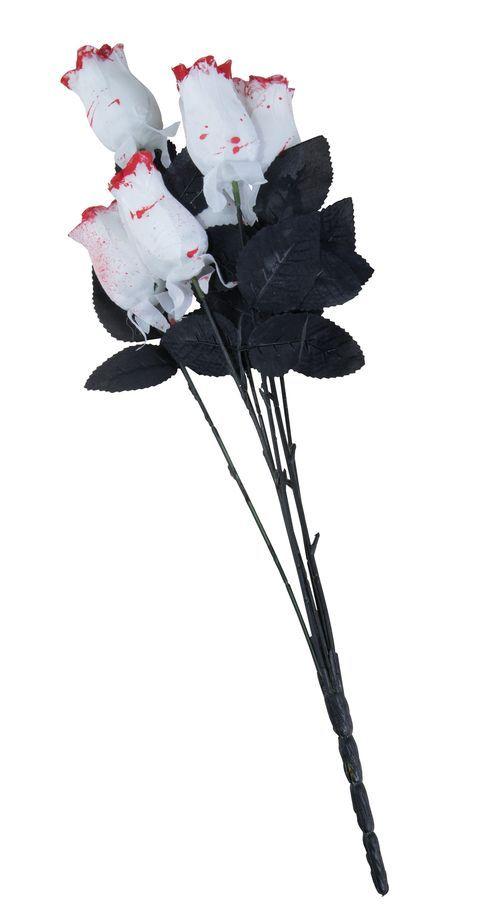 Ramo de 6 rosas blancas sangrientas tela 54 cm Halloween: Este ramo tiene 6 flores falsas de tela. Son rosas blancas manchadas de sangre. Las rosas tienen varillas y hojas negras. Miden 23 cm de largo.Este ramo sangriento es el toque final perfecto de un...